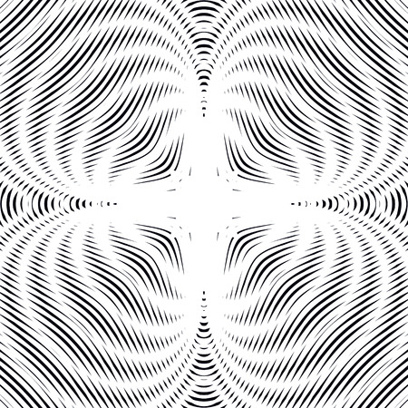 interference: Moire pattern, op art background. Hypnotic backdrop with geometric black lines. Abstract vector tiling.