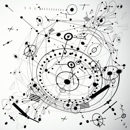 Vector tecnologia digitale sfondo fatto con elementi geometrici low poly progettazione e cerchi. modello Bauhaus arte retrò stile combinato con elementi di schema meccanico da utilizzare come modello di copertina booklet.