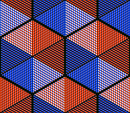 Endless colorful symmetric pattern, graphic design. Geometric intertwine optical composition, clear EPS10.