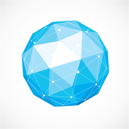 facets: 3d vector digital wireframe spherical object made using triangular facets. Geometric polygonal structure created with lines mesh. Low poly shape, blue lattice form for use in web design. Illustration