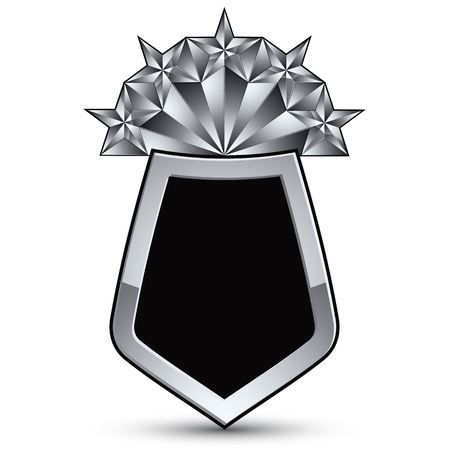 silvery: Sophisticated vector blazon with five silver stars, silvery 3d design element, metallic clear EPS 8 emblem.