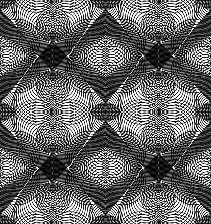 Vector monochrome stripy endless pattern, art continuous geometric background with graphic lines and overlapping romantic hearts. Vektorové ilustrace