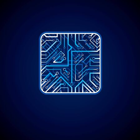 luminescent: Collection of vector microchip design, cpu. Information communication technology element with sparkles, neon luminescent circuit board in the shape of square. Illustration