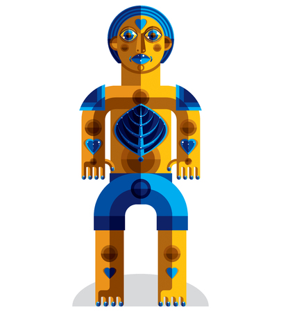 cubism: Cubism theme vector graphic illustration, modernistic symbol. Geometric cartoon character, mythic creature or shaman. Colorful drawing of  pagan idol.
