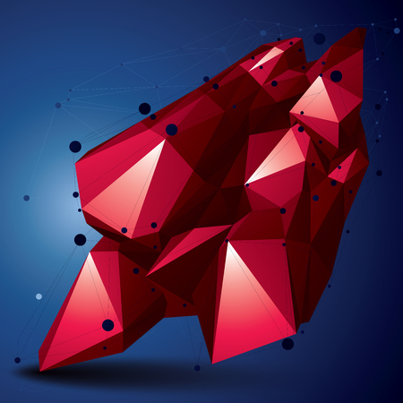 Geometric red polygonal structure with lines mesh, modern science and technology element.