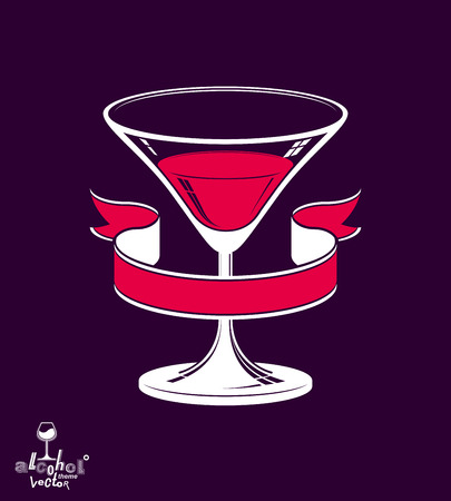 copa martini: Realistic 3d martini glass with classic simple ribbon, alcohol theme illustration. Stylized artistic lounge object, relaxation and celebration � party. Vectores