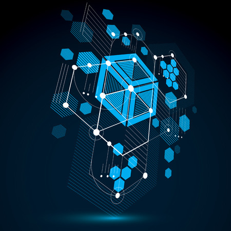 bauhaus: Modular Bauhaus 3d vector background, created from geometric figures like hexagons, circles and lines. For use as advertising poster or banner design. Abstract mechanical scheme made in blue color. Illustration