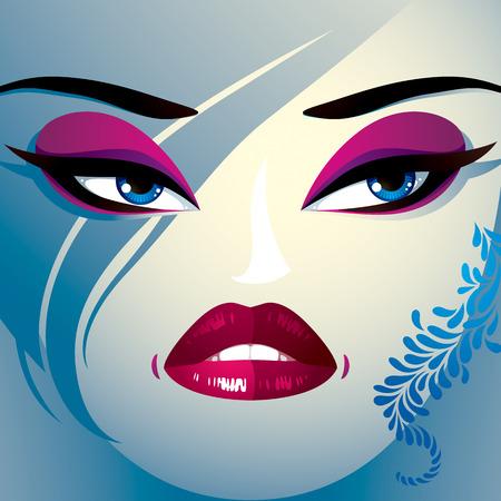 desprecio: Coquette mujer ojos y los labios, estilo de maquillaje y peinado. Las personas negativas emociones faciales, desprecio. Vectores