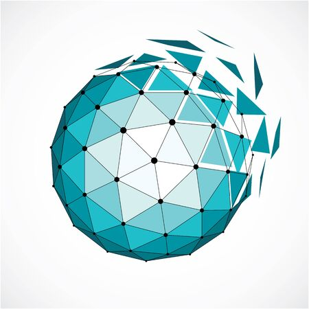 facets: 3d vector digital wireframe spherical object made using triangular facets. Geometric polygonal structure created with lines mesh. Low poly shape, green lattice form for use in web design. Illustration