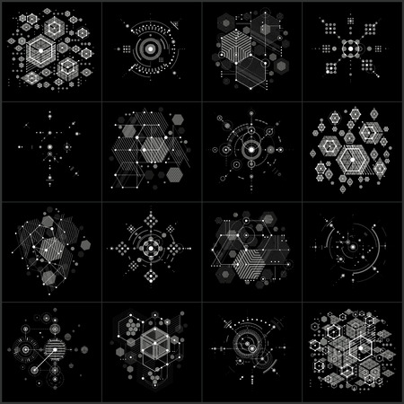 bauhaus: Bauhaus art composition. Set of decorative modular vector grayscale wallpapers with circles and hexagons. Retro style patterns collection, graphic backdrops for use as booklet cover templates. Illustration