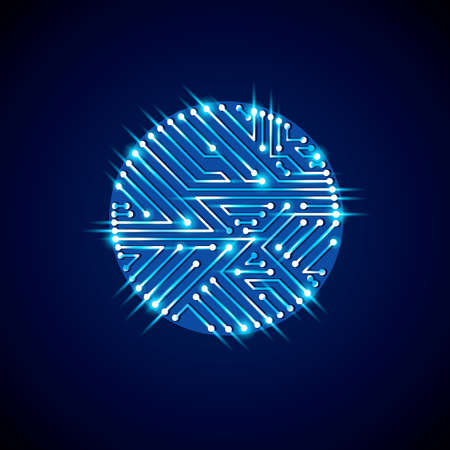 glare: Vector abstract computer glare circuit board, blue round technology element with connections and neon lights. Electronics theme web design.