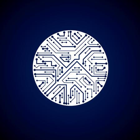 microprocessor: Vector circuit board circle, digital technologies abstraction. White computer microprocessor scheme, futuristic design.