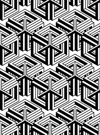 splice: Seamless optical ornamental pattern with three-dimensional geometric figures. Intertwine black and white composition. Illustration