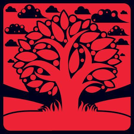 symbolic: Tree with ripe apples placed on stylized background, harvest season theme illustration. Fruitfulness and fertility idea symbolic image.