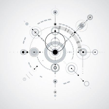 mechanical parts: Technical plan, monochrome abstract engineering draft for use in graphic and web design. Vector drawing of industrial system created with mechanical parts and circles.