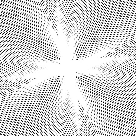 meditative: Geometric background created with moire technique. Vector contrast lined tiling with visual effects.