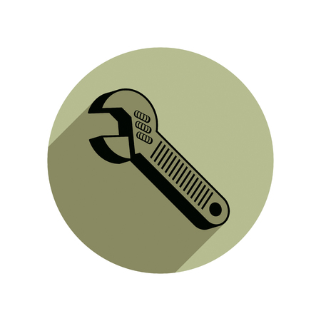 adjustable: Adjustable wrench isolated on white, repair tool 3d icon. Manufacture theme vector design element, detailed illustration of work instrument.