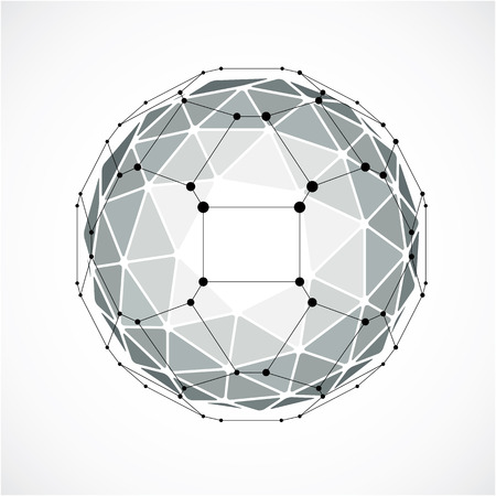 trigonometry: 3d vector digital wireframe spherical object made using triangular facets. Geometric polygonal structure created with lines mesh. Low poly shape, gray lattice form for use in web design.