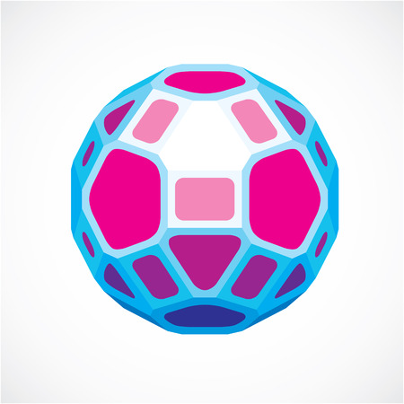 facets: 3d vector digital spherical object made using pentagons and square facets. Low poly shape, purple polygonal globe, abstract form for use in web design. Illustration