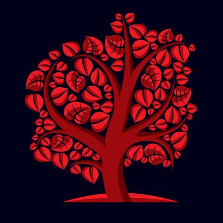 branchy: Art illustration of autumn branchy tree, stylized ecology symbol. Graphic design vector image on season idea, environmental conservation idea.