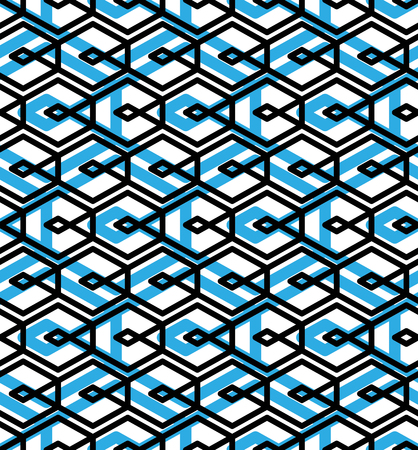 visual effect: Blue abstract seamless pattern with interweave lines. Vector ornament wallpaper. Endless decorative background, visual effect geometric tracery with rhombs.