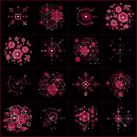 bauhaus: Set of vector Bauhaus abstract red backgrounds made with grid and overlapping simple geometric elements, circles and honeycombs. Retro style artworks, graphic templates for advertising poster. Illustration