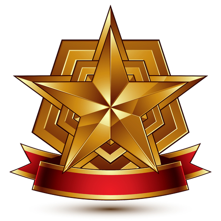 awarded: 3d golden heraldic blazon with glossy pentagonal star, best for web and graphic design, clear EPS 8 vector. Decorative coat of arms with red wavy ribbon, defense symbol. Illustration