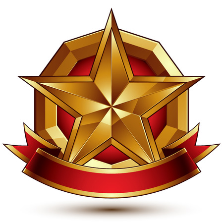 Branded golden symbol with stylized pentagonal glossy star and red decorative curvy ribbon, best for use in web and graphic design. Refined vector icon placed in a circle with red filling. Sophisticated gold ring and polished wavy tape.