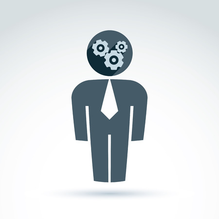 delegar: Silhouette of person standing in front - delegate, consultant, white-collar worker. Vector illustration of an organization system, business strategy concept. Cog-wheels and gears placed in a head of CFO.