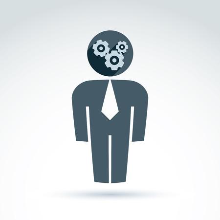 delegar: Silueta de la persona de pie delante - delegado, consultor, trabajador de cuello blanco. Vector ilustraci�n de un sistema de organizaci�n, el concepto de estrategia de negocio. Ruedas dentadas y engranajes colocados en una cabeza de director financiero.