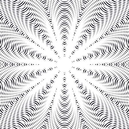 hypnotic: Optical illusion, creative black and white graphic moire vector backdrop. Decorative lined hypnotic contrast background. Illustration