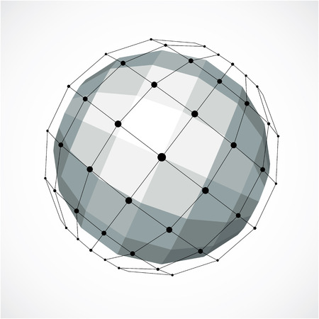 trigonometry: Perspective technology shape with black lines and dots connected, polygonal wireframe object. Abstract gray faceted element for use as design structure on communication technology theme