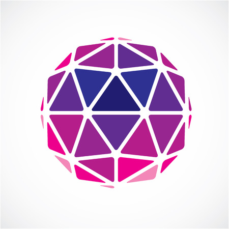 facets: Dimensional vector purple low poly object, trigonometry shape. Technology 3d spherical element made with triangular facets for use as design form in engineering.