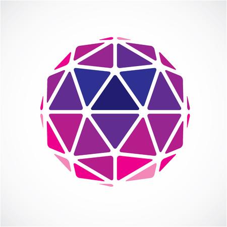 vecteur dimensionnel objet faible poly pourpre, forme de la trigonométrie. Technologie élément sphérique 3D réalisé avec des facettes triangulaires pour une utilisation en tant que forme de conception en ingénierie. Vecteurs