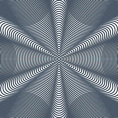 op art: Moire pattern, op art background. Hypnotic backdrop with geometric black lines. Abstract vector tiling.