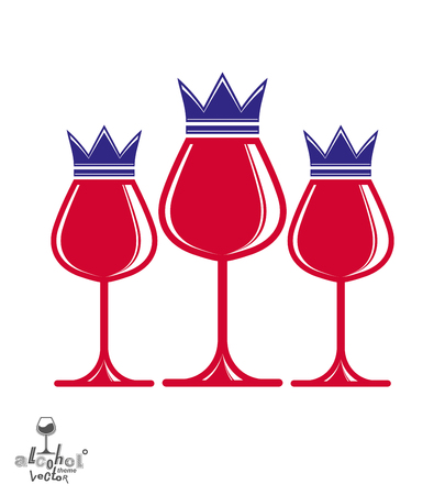 wineglasses: Elegant luxury wineglasses with king crown, graphic artistic vector goblets collection. Three full glasses of red wine vector illustration, eps8. Illustration