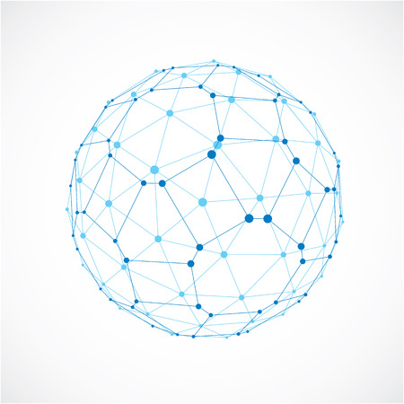 facets: 3d vector digital wireframe spherical object made using facets. Geometric polygonal blue ball created with lines mesh and pentagons. Low poly shape, lattice form for use in web design. Illustration