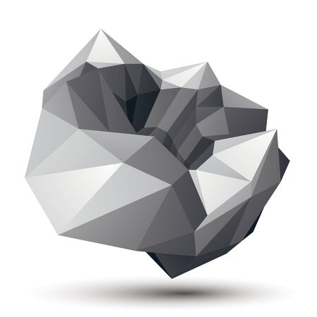Geometric abstract 3D complicated object, monochrome asymmetric three-dimensional element isolated.