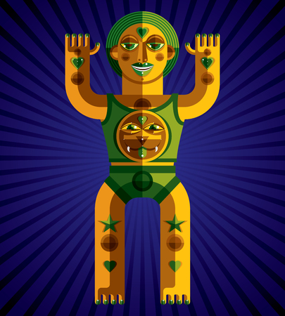 mythic: Bizarre creature vector illustration, cubism graphic modern picture. Flat design image of an odd character isolated on artistic striped background. Mythic idol drawing.