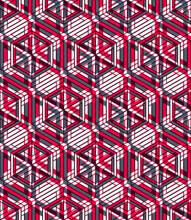splice: Seamless optical ornamental pattern with three-dimensional geometric figures. Intertwine colored EPS10 composition. Illustration