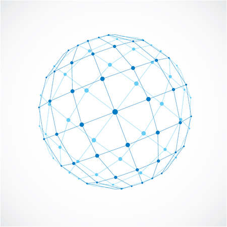 facet: 3d vector low poly spherical object with black connected lines and dots, geometric blue wireframe shape. Perspective facet orb created with squares.