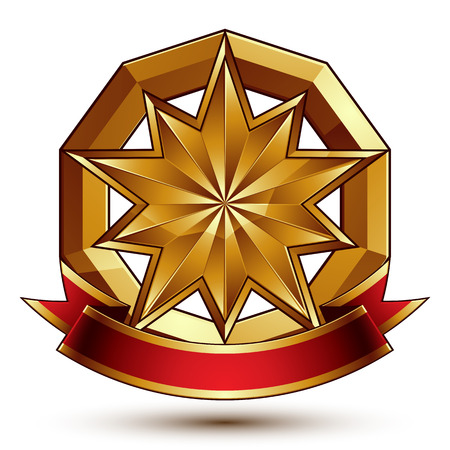 Complicated vector golden design element with polygonal decorative star and red curvy ribbon. 3d luxury medallion isolated on white background. Round festive dimensional badge with refined tape.