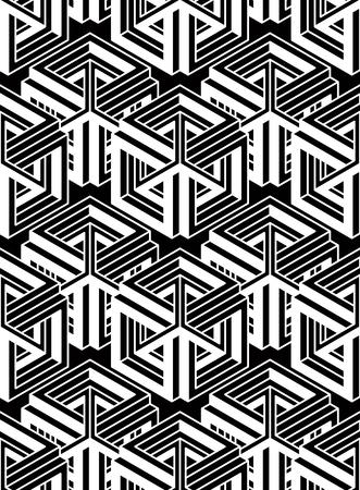 splice: Endless monochrome symmetric pattern, graphic design. Geometric intertwine optical composition.