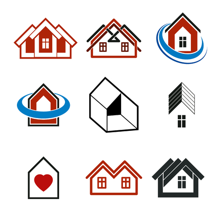 idealistic: Houses abstract icons. Set of simple buildings, architecture theme vector graphic symbol.