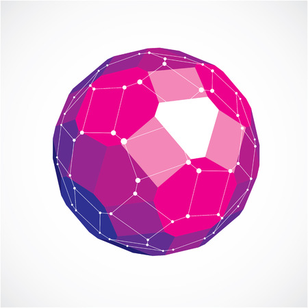 facet: 3d vector low poly spherical object with white connected lines and dots, geometric purple wireframe shape. Perspective facet ball created with squares and pentagons. Illustration
