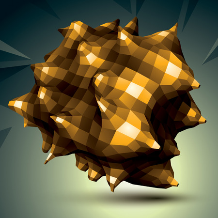 spatial: Spatial vector golden digital object isolated, 3d technology figure with geometric elements.