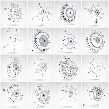 perspectiva lineal: Conjunto de fondos abstractos del vector 3D creado en estilo retro Bauhaus. Composición geométrica se puede utilizar como plantillas y diseños. fondos de pantalla de tecnología de ingeniería realizados con círculos. Vectores
