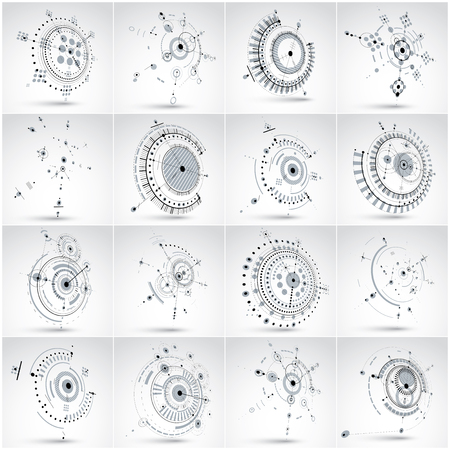 perspectiva lineal: Set of 3d vector abstract backgrounds created in Bauhaus retro style. Geometric composition can be used as templates and layouts. Engineering technology wallpapers made with circles.