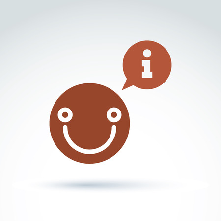 replica: Vector speech bubble with information sign - analyze and conversation symbol, text message concept. Smiling happy thinking person.