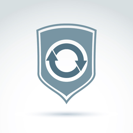 security symbol: Loop icon, reload symbol placed on a gray security shield. Rotating arrows.